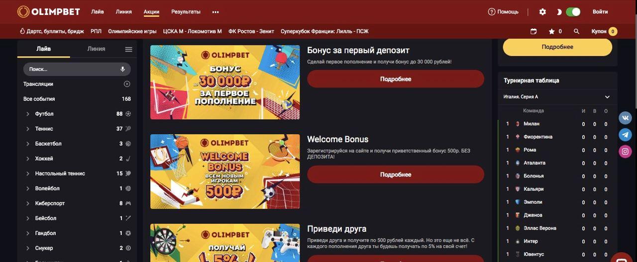 Акции и бонусы от бк OlimpBet.